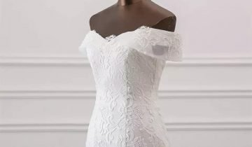 Quality Boat Neck Off-White Mermaid Gown